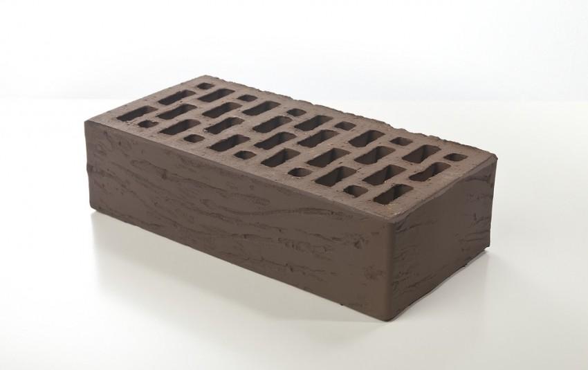 Облицовочный кирпич Браер, коричневый, рифленый, 1 нф