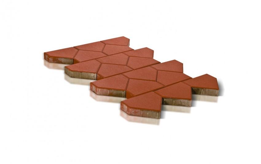 Тротуарная плитка BRAER Тиара, красный, h= 60