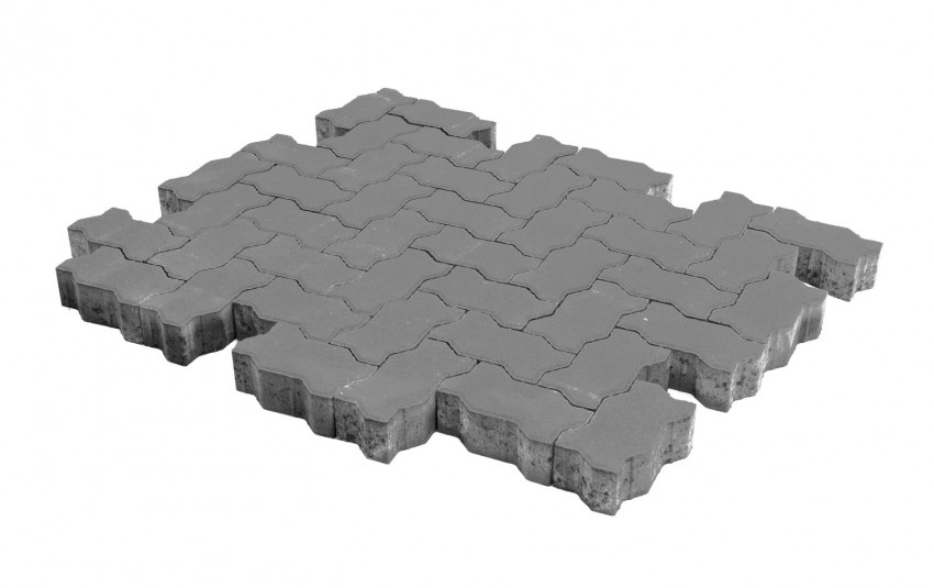 Тротуарная плитка BRAER Волна, серый, h= 60