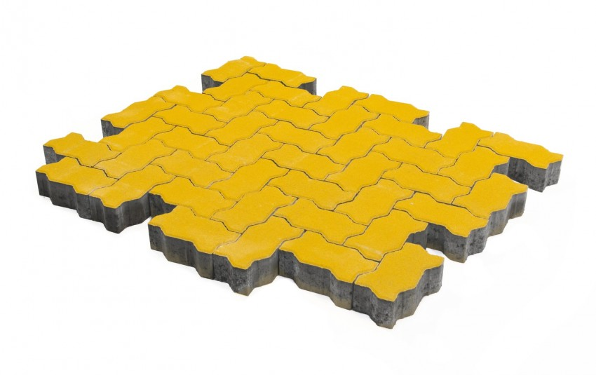 Тротуарная плитка BRAER Волна, желтый, h= 60
