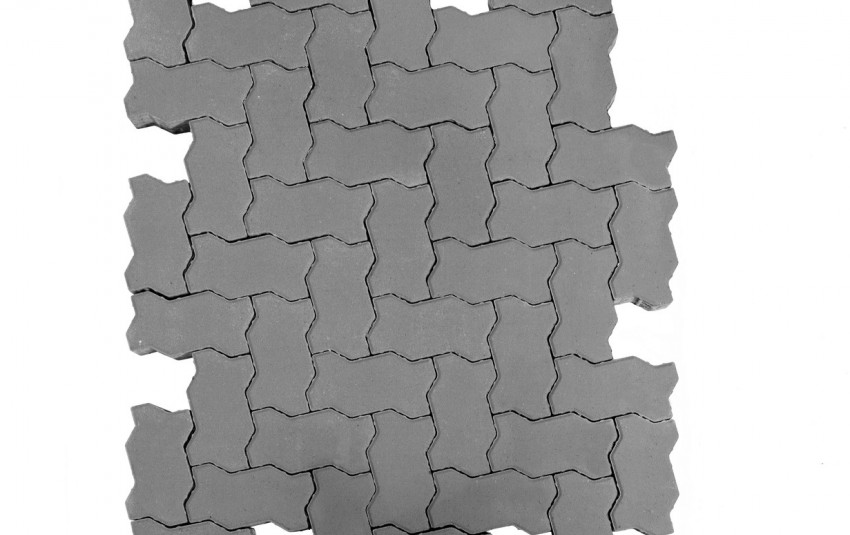 Тротуарная плитка BRAER Волна, Серый, h=70 мм