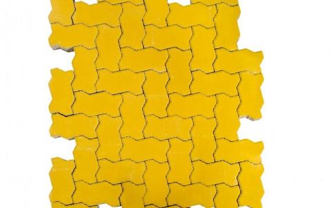 Тротуарная плитка BRAER Волна, Желтый, h=70 мм