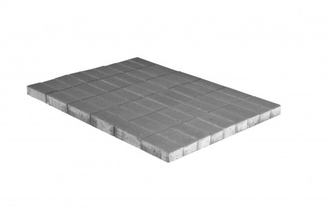 Тротуарная плитка BRAER Прямоугольник, серый, h= 60, однослойная