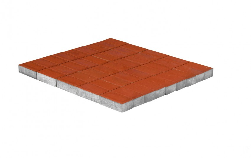 Тротуарная плитка BRAER Прямоугольник, красный, h= 60