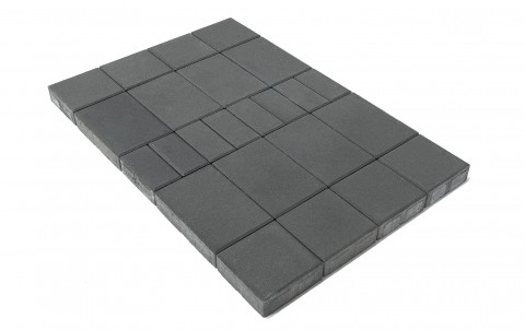 Тротуарная плитка BRAER Мозаика, Серый, h=60 мм