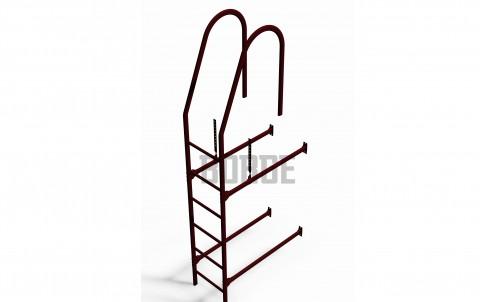 Комплект лестница фасадная BORGE верхняя секция 1,8м, цвет RAL 3005