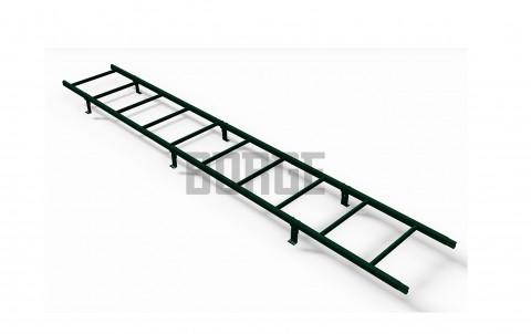 Комплект лестница кровельная BORGE 3м, для МЧ, профнастила, КЧ, ГЧ черепицы, цвет RAL6005