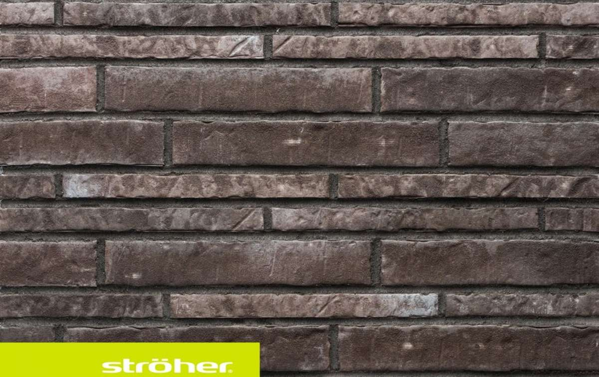 фасадная клинкерная плитка STROEHER kohlenglanz, размер  400x35x14