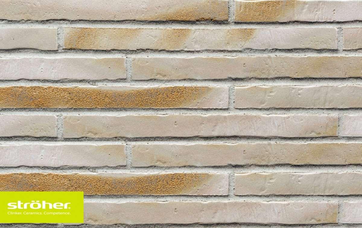 фасадная клинкерная плитка STROEHER gold-wiess, размер 490x40x14