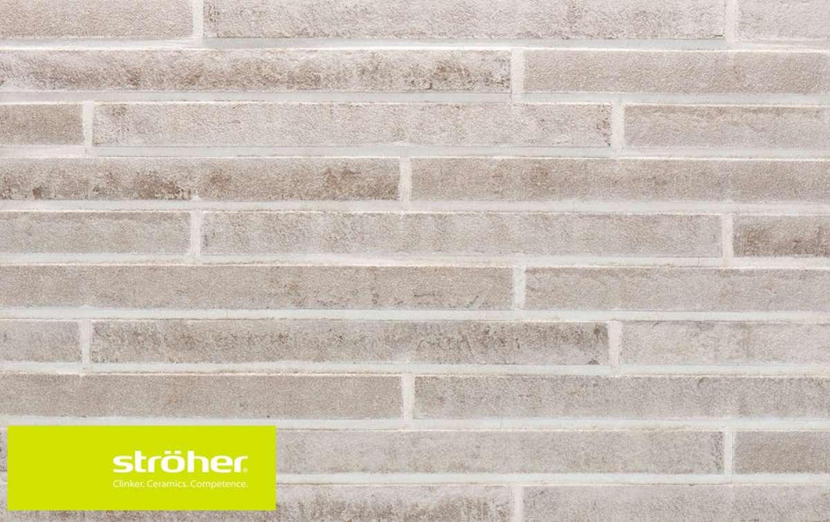 фасадная клинкерная плитка STROEHER silber-grau, размер 440x40x14
