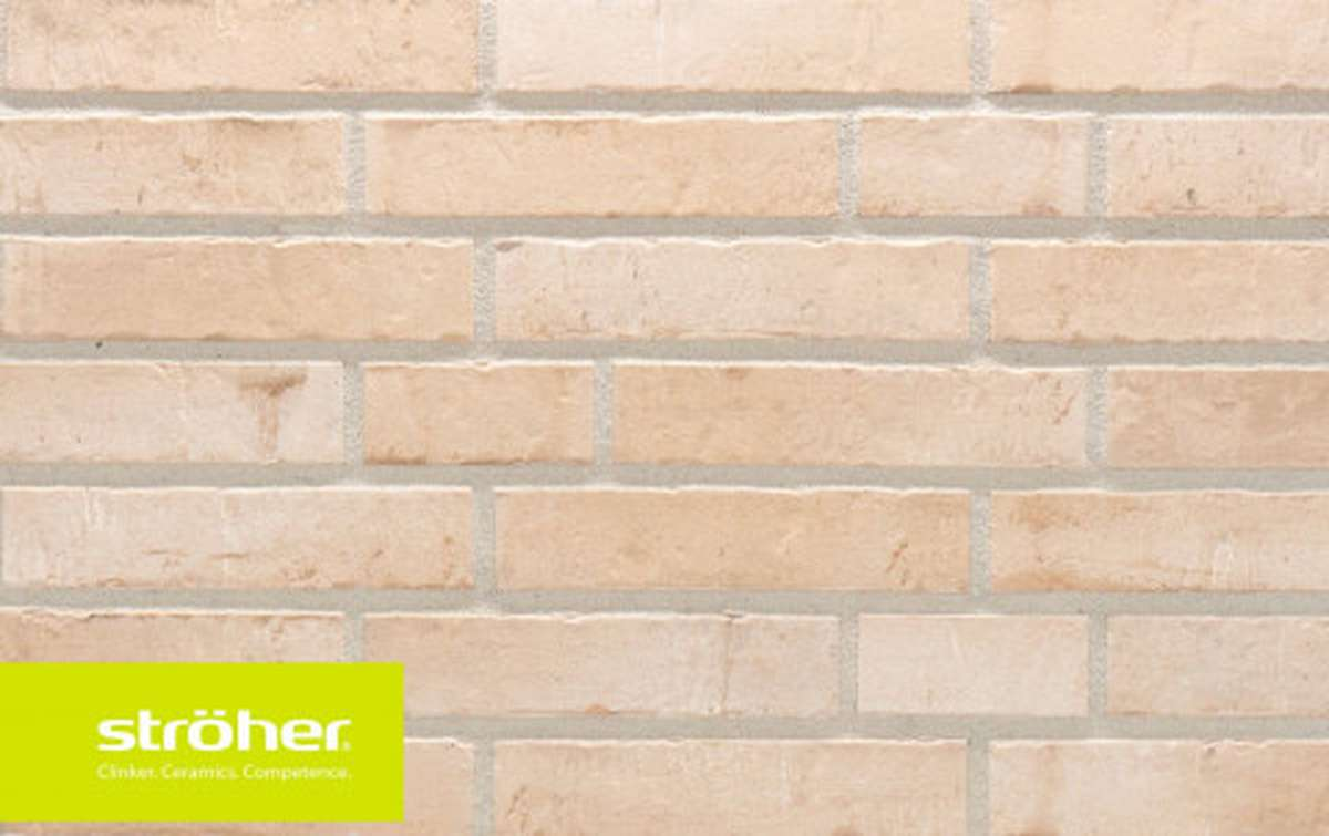 фасадная клинкерная плитка STROEHER beige engobiert, размер 440x52x12