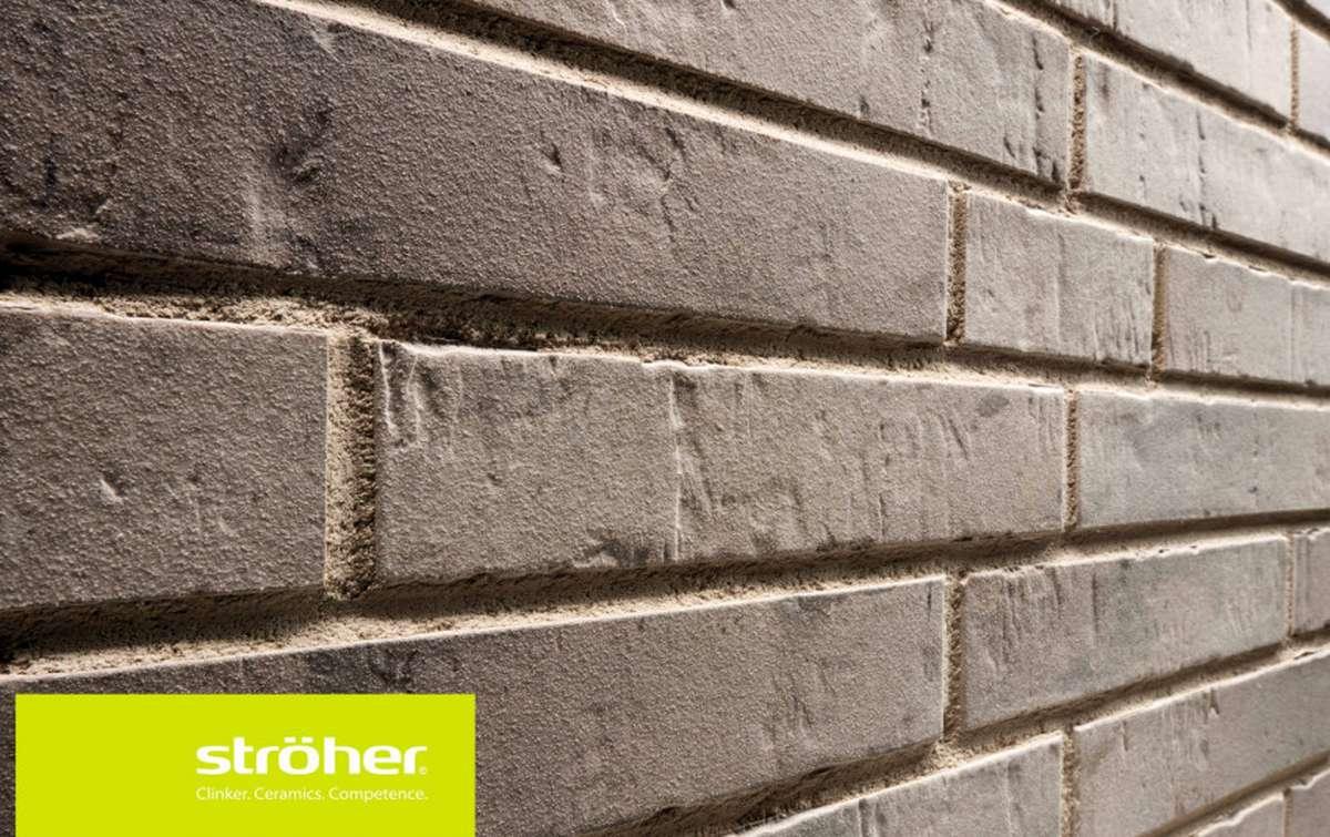 фасадная клинкерная плитка STROEHER grau engobiert, размер 440x52x12