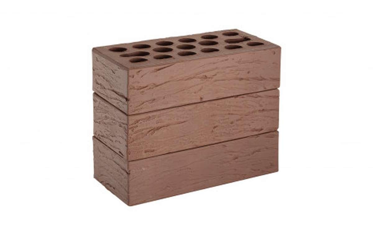 Облицовочный кирпич Керма Шоколад Рустик, рифленый, 250x120x65