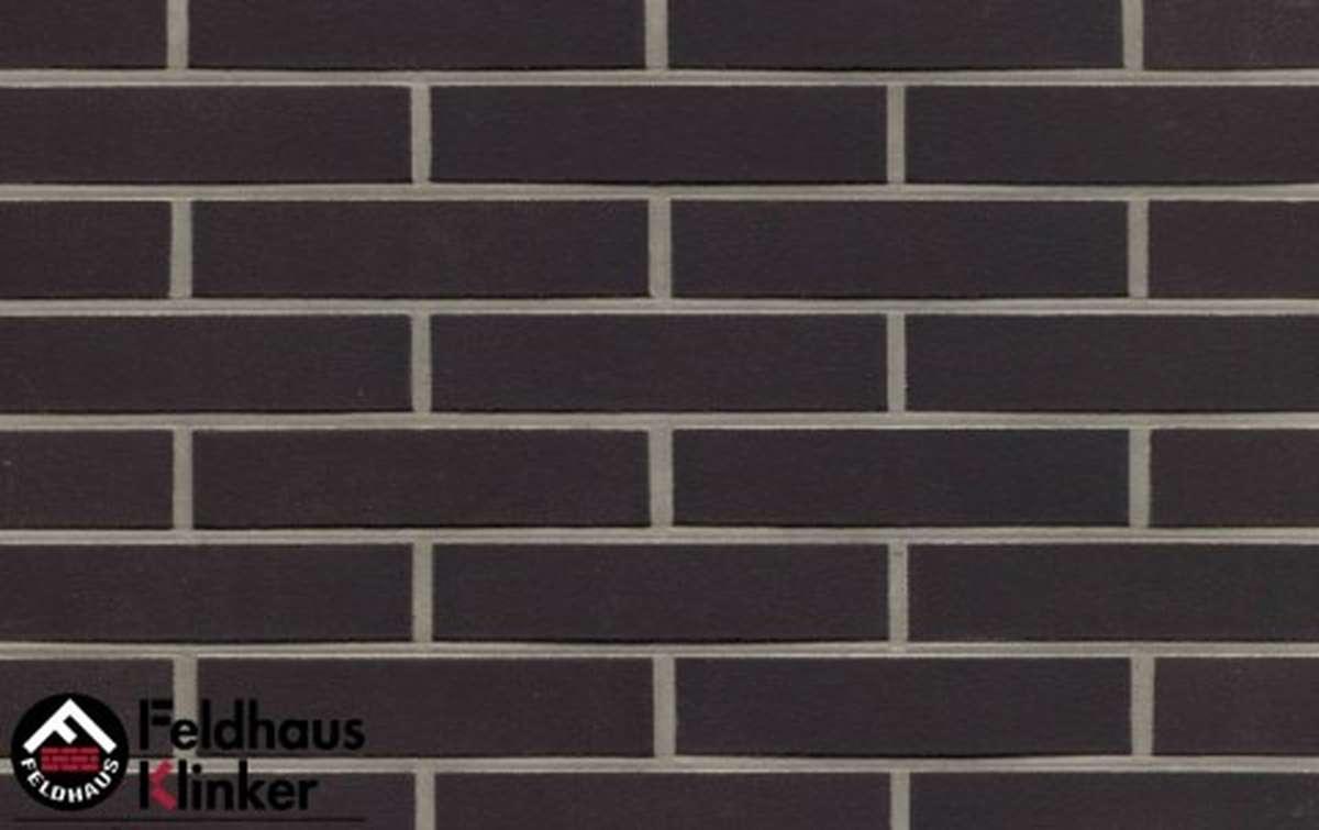 клинкерная плитка для фасада feldhaus klinker r700df9 anthracit liso 240x9x52