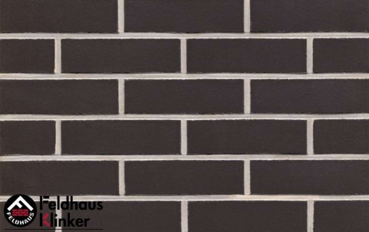 клинкерная плитка для фасада feldhaus klinker r700nf9 anthracit liso 240x9x71